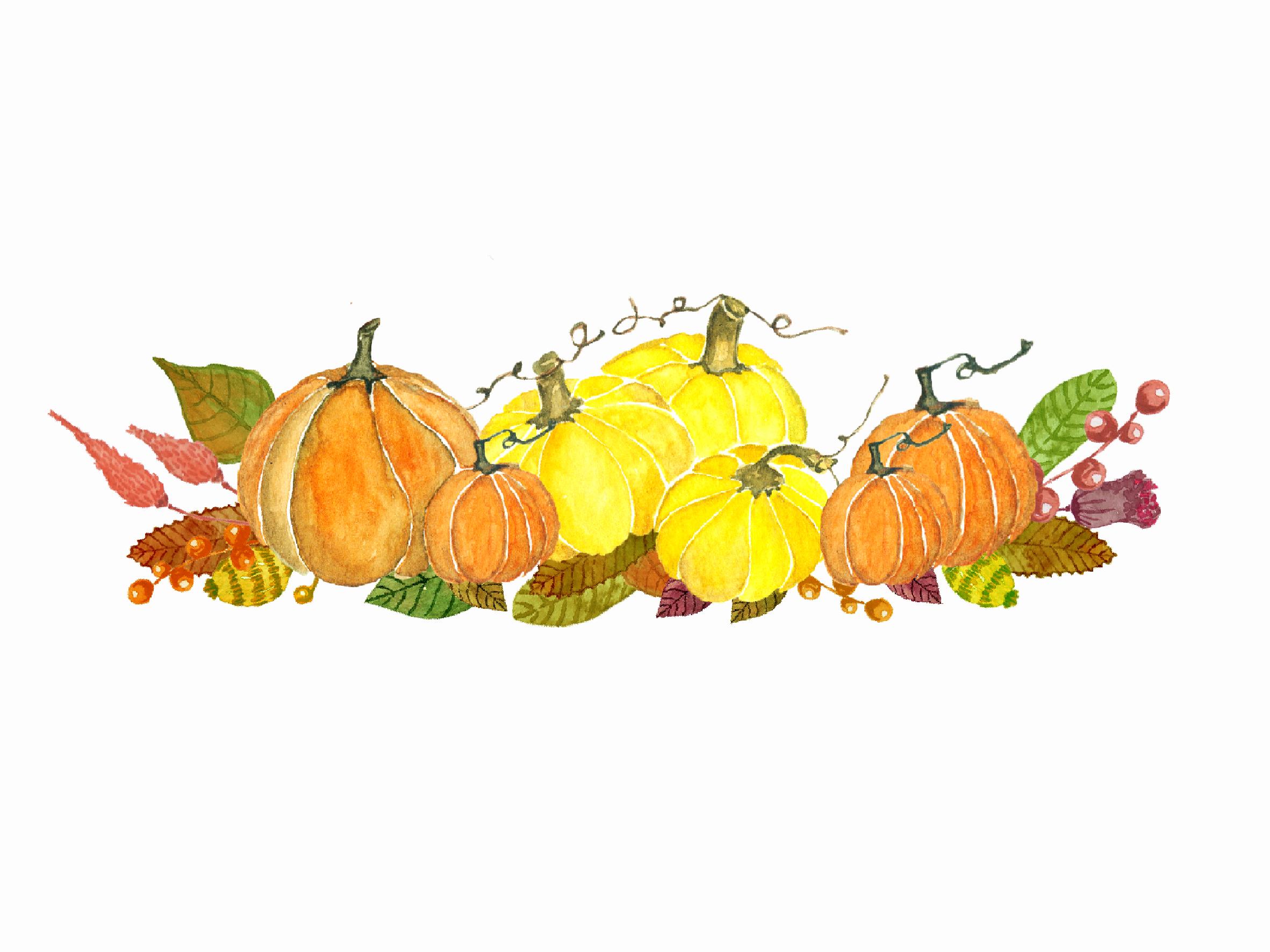 Watercolor Autumn Pumkin Clipart ~ Illustrations on ...