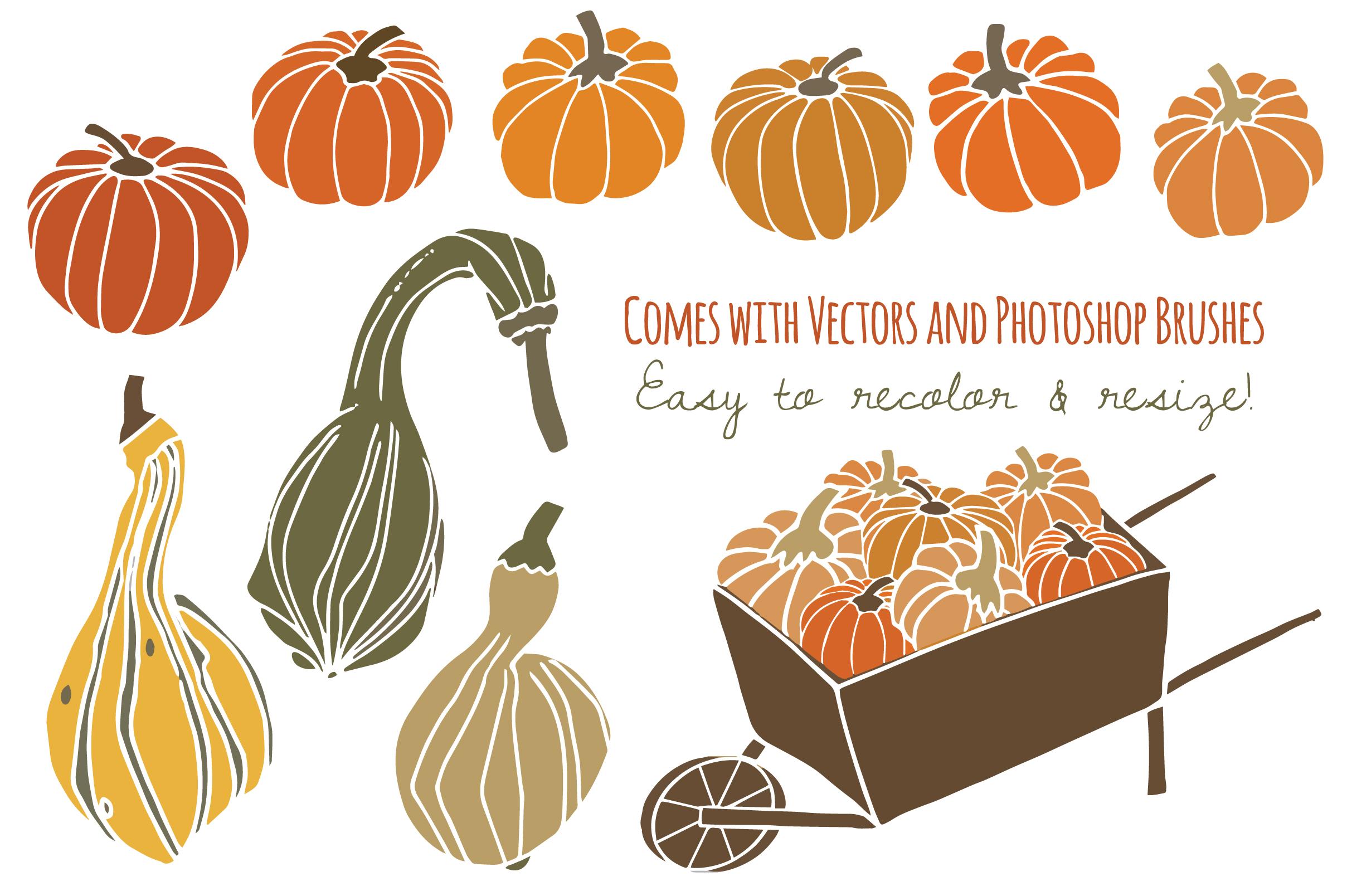 Pumpkins & Gourds Clip Art ~ Objects on Creative Market