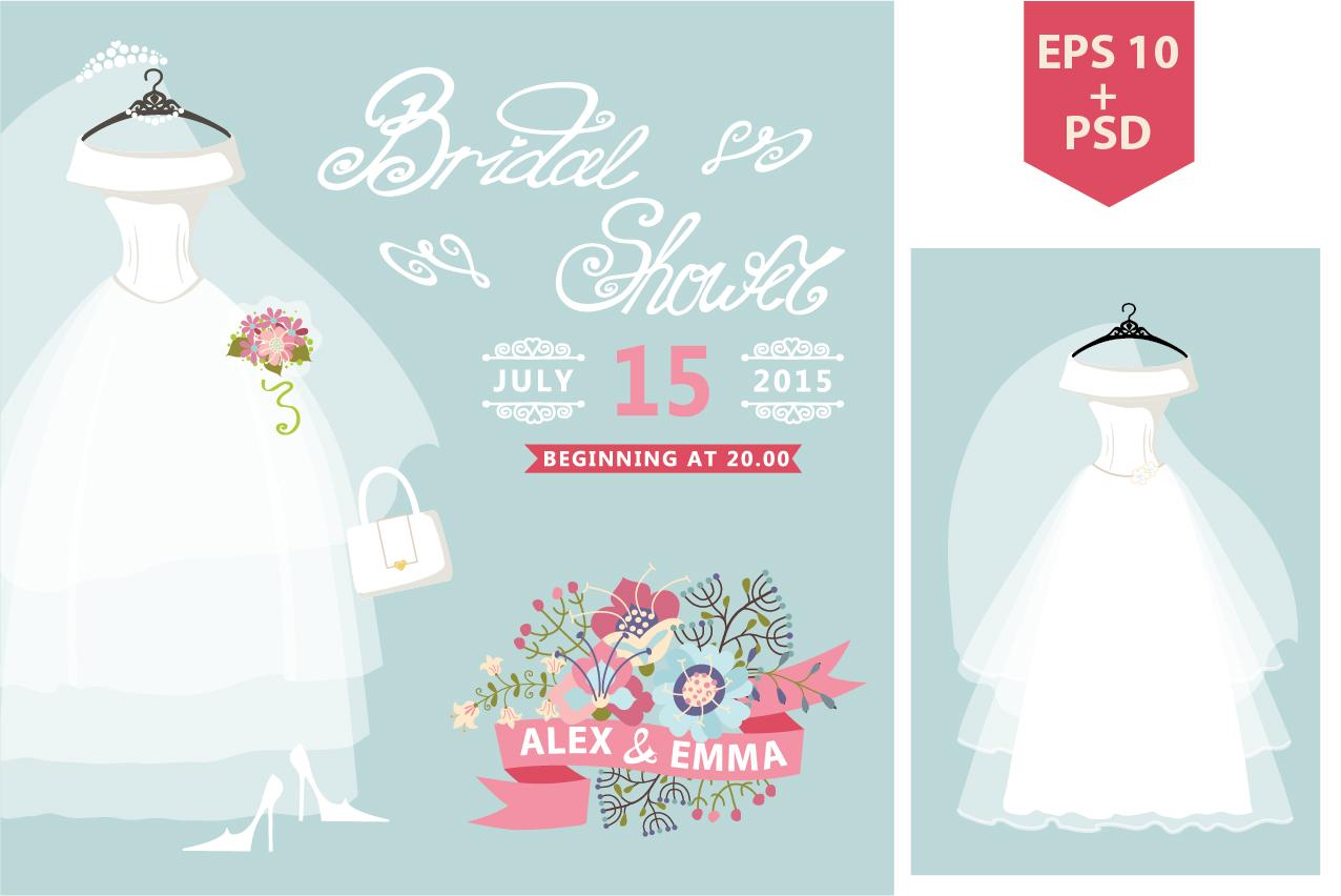 Bridal shower wedding dress flowers invitation templates on creative