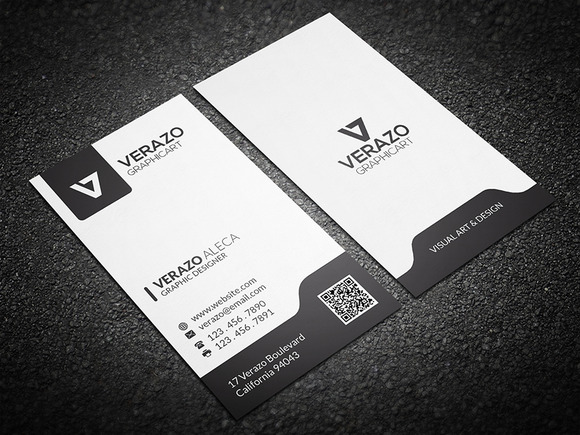 Black & White Vertical Business Card Business Card