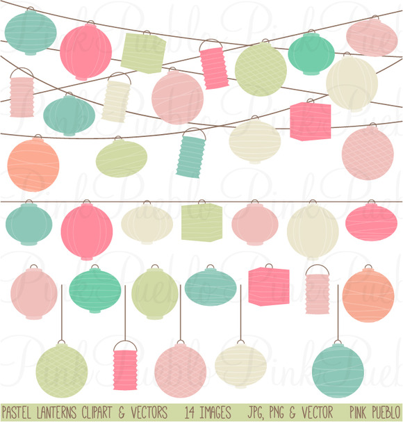 Pastel Paper Hanging Lantern Graphic ~ Illustrations on ...