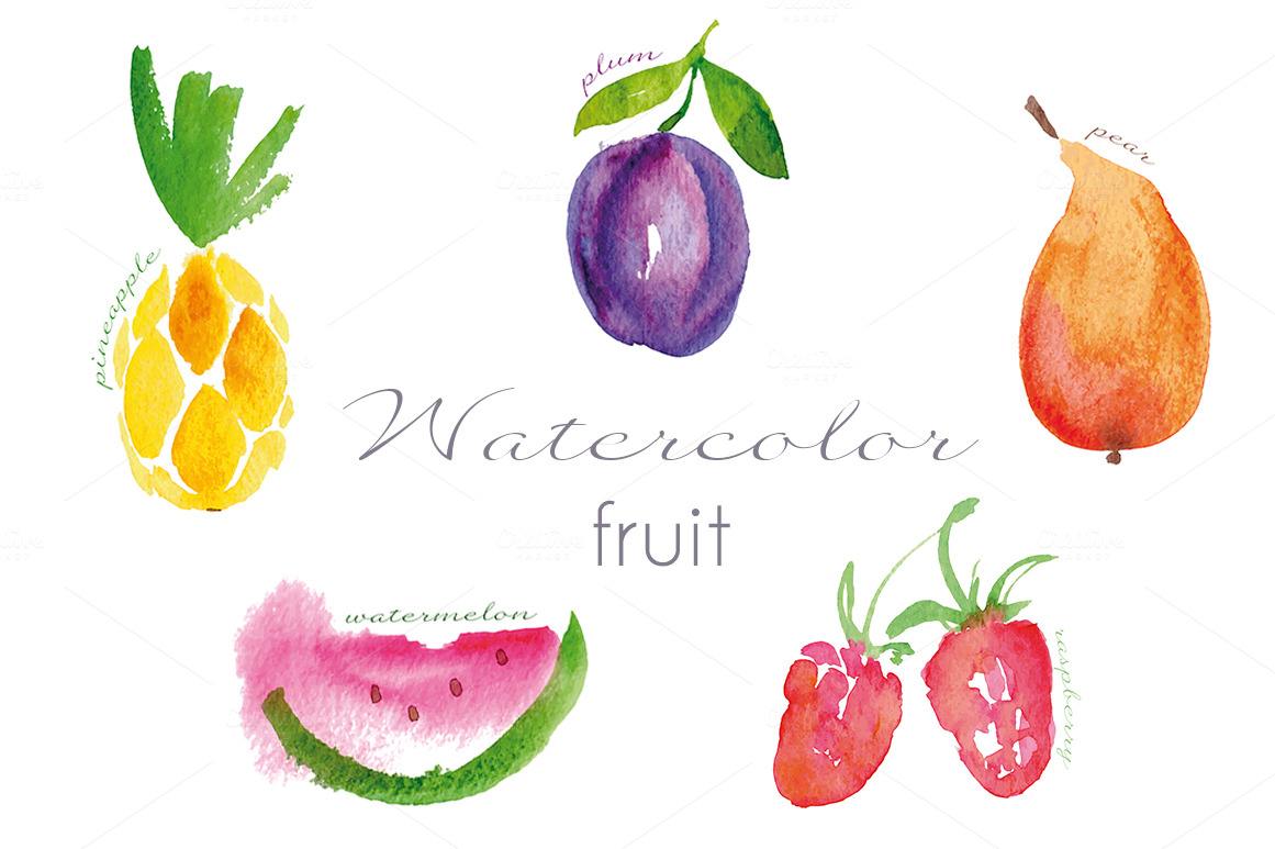 Watercolor fruit set ~ Objects on Creative Market