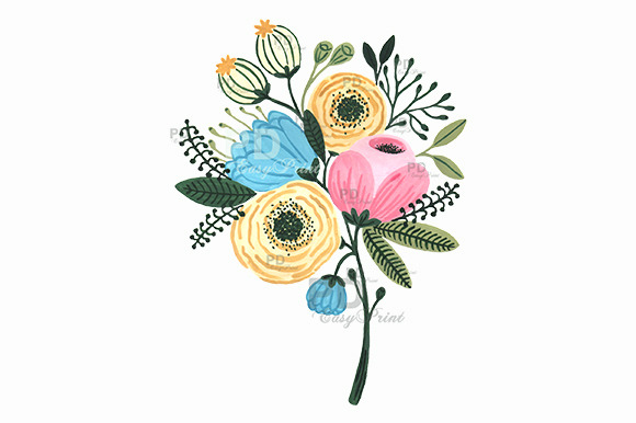 Flower Bouquet Watercolor Clipart ~ Illustrations on ...