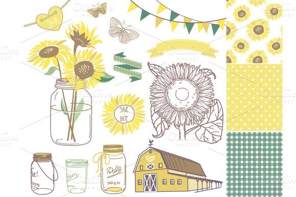 Sunflowers Mason Jars Digital Papers Illustrations On