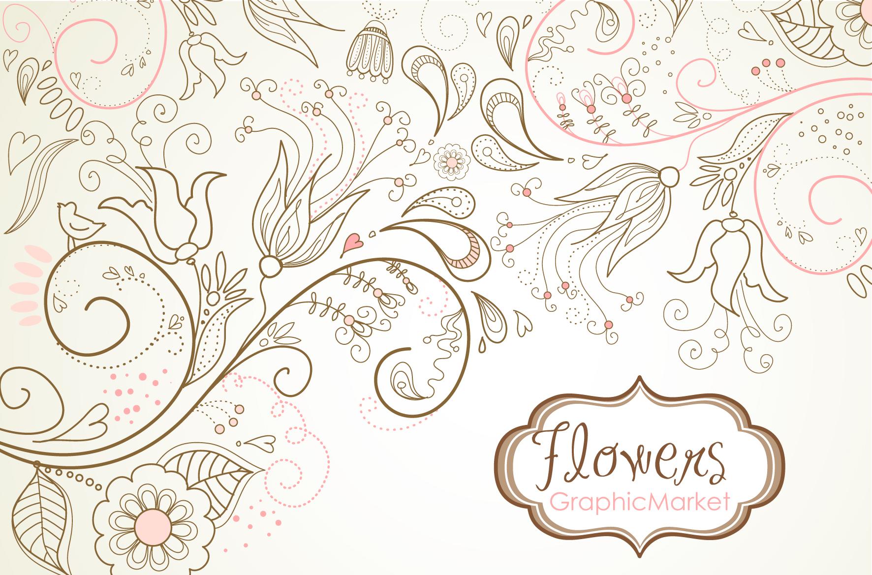 flowers digital paper floral border illustrations on