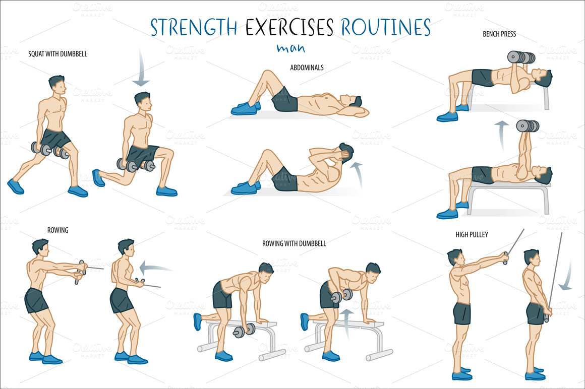 Strength Exercise Routine Illustrations On Creative Market