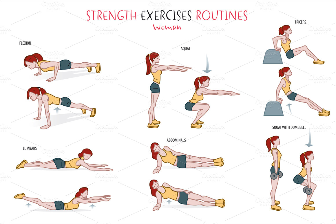 Drawing Arm Lifts : Strength exercise routine illustrations on creative market
