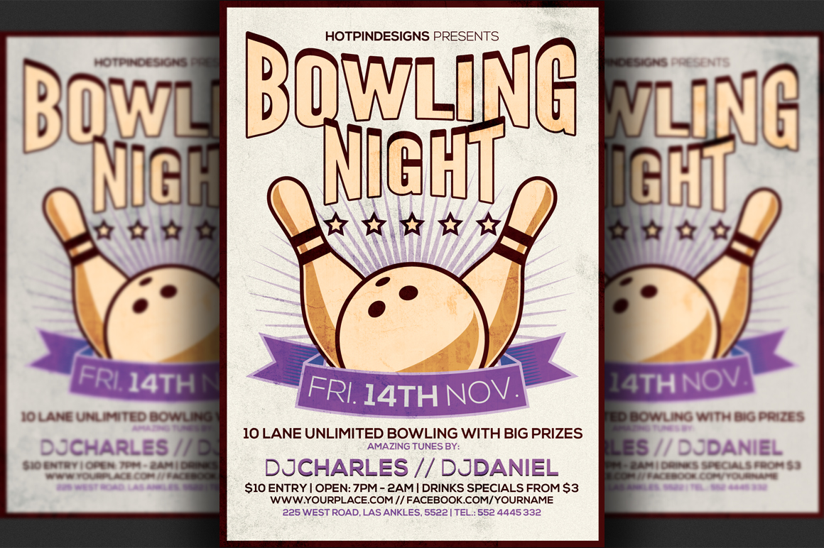 bowling night flyer template flyer templates on creative market. Black Bedroom Furniture Sets. Home Design Ideas