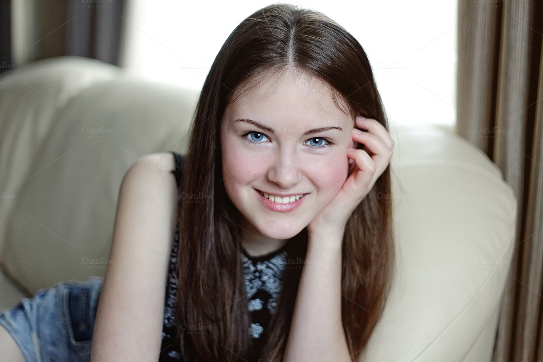 Beautiful girl smiling people photos on creative market for Teenage beautiful girls