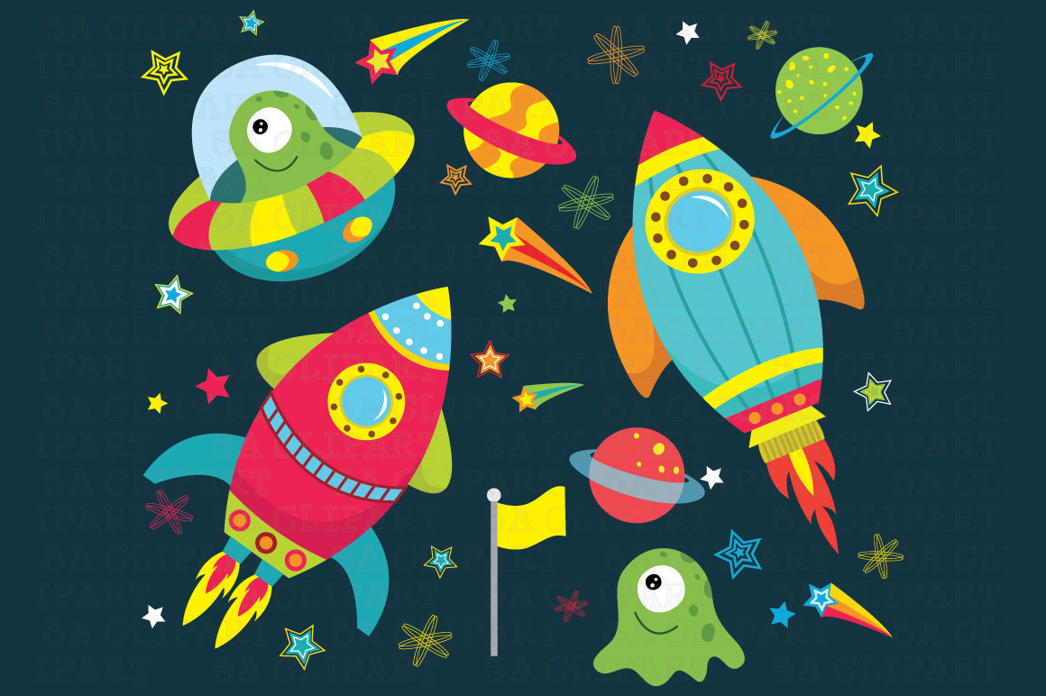 Outer space clipart illustrations on creative market for Outer space graphics