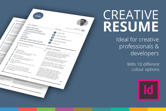 creative and professional resume cv template ready to use in 10 - Indesign Resume Template