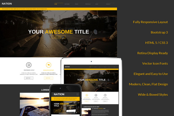 Nation Responsive Bootstrap Theme - Bootstrap - 1