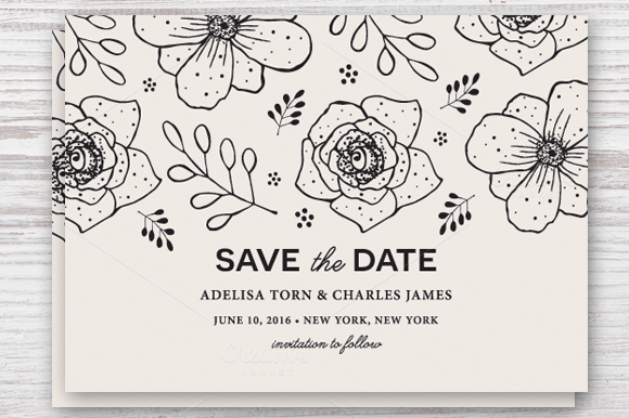Save the Date Template EPS &~ Invitation Templates on