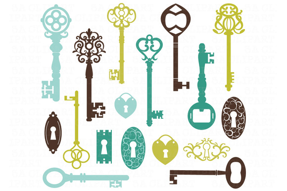 Vintage keys silhouette clipart illustrations on for Art with old keys