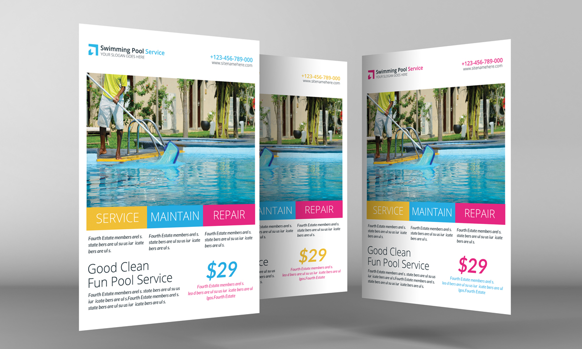 Swimming Pool Service Brochure Design : Swimming pool cleaning service flyer templates on