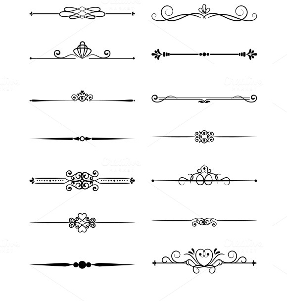 Floral vintage page dividers - Web Elements - 1Page Dividers