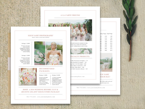 Wedding pricing guide set brochure templates on creative for Photography brochure template free