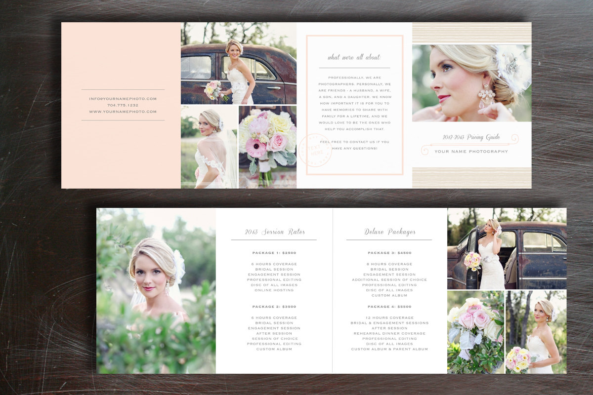 Pricing guide photography brochure templates on creative for Photography brochure templates free