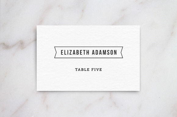wedding table place card template card templates on creative market. Black Bedroom Furniture Sets. Home Design Ideas