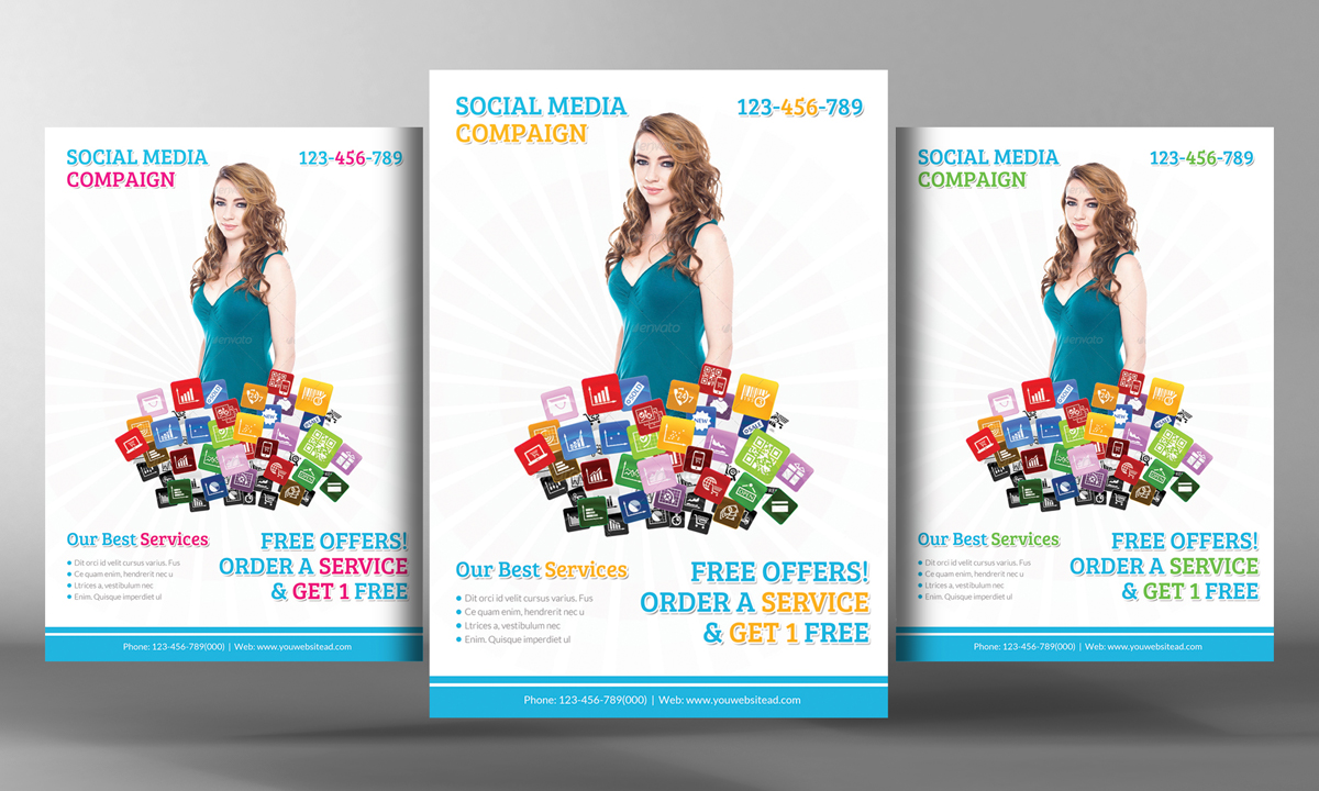 social media marketing flyer flyer templates on creative market. Black Bedroom Furniture Sets. Home Design Ideas