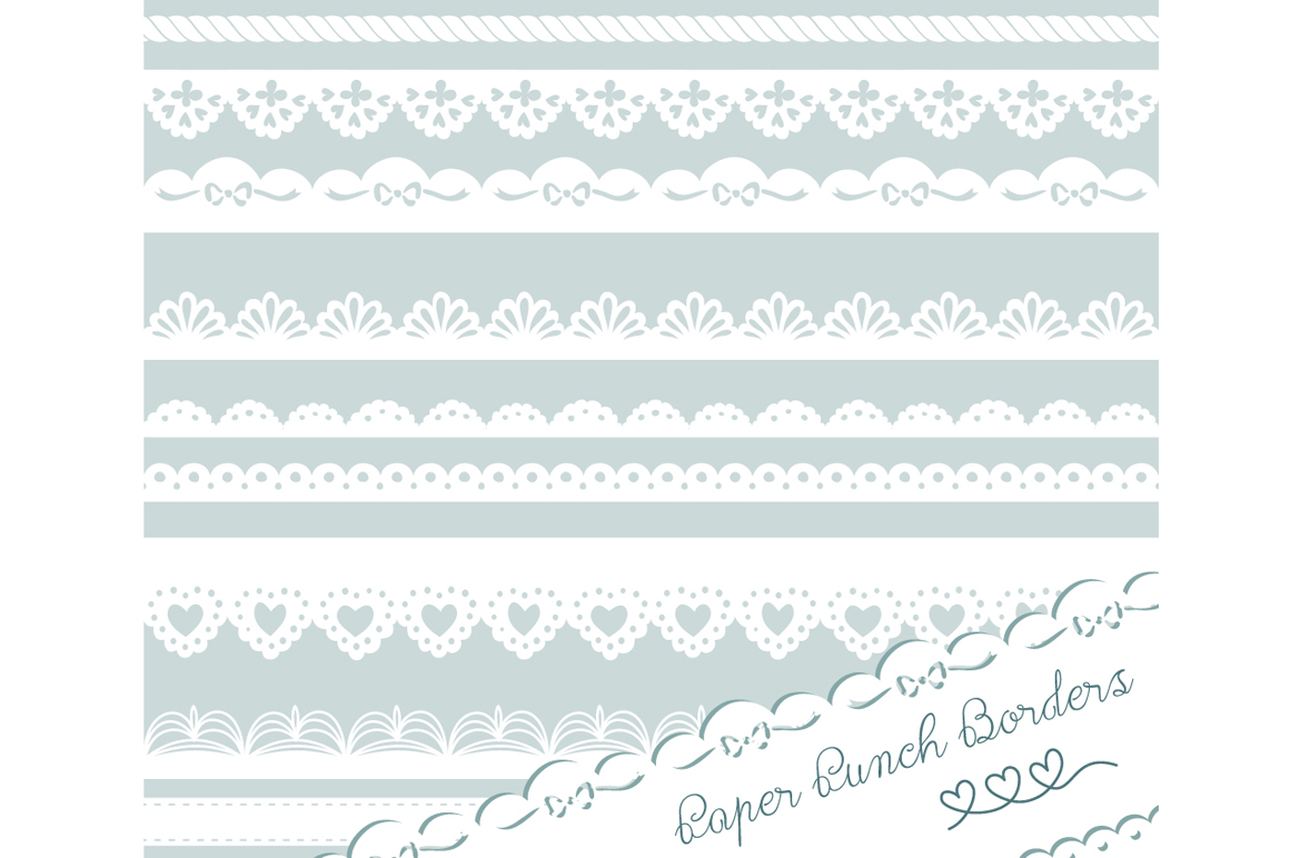 Paper Punch Borders Lace Clip Art Illustrations On