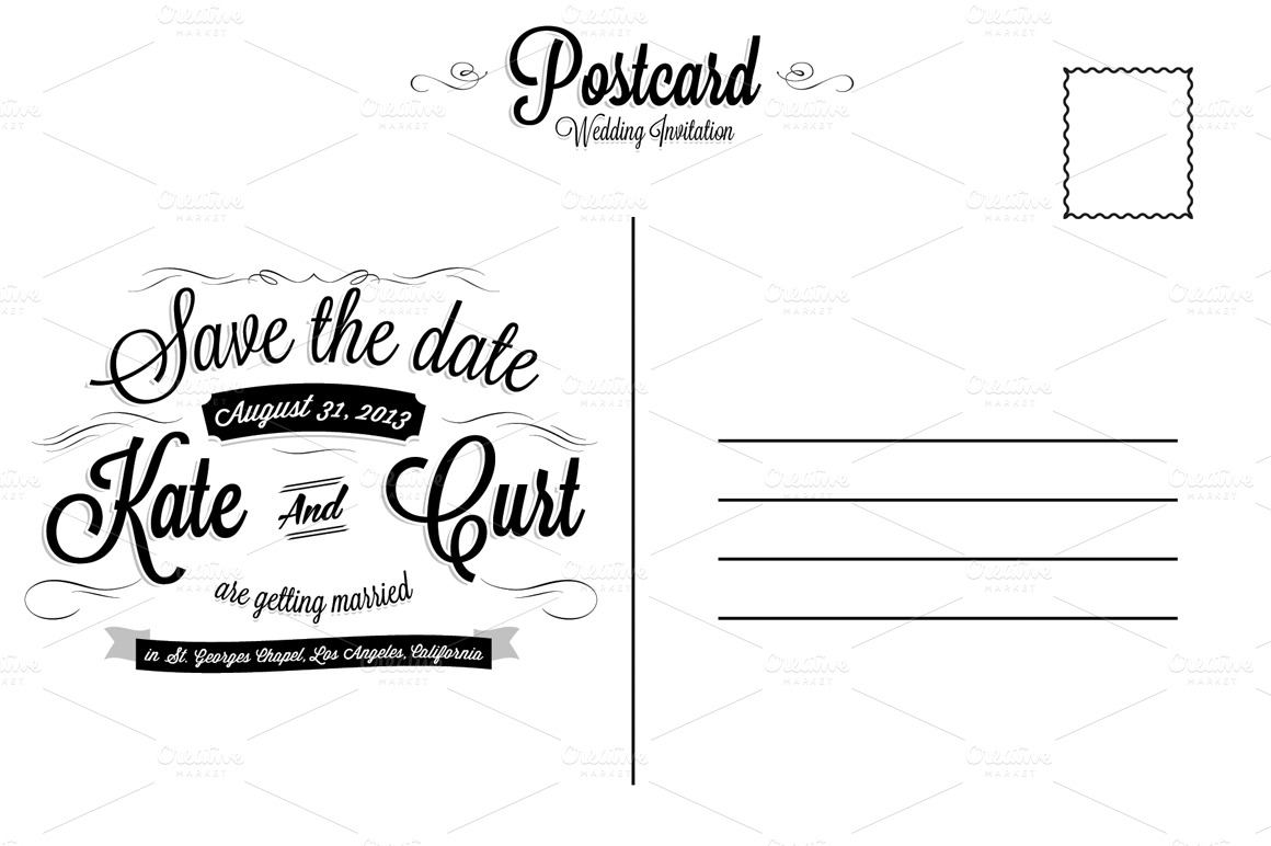 Vintage wedding invitation postcard card templates on for 6x4 postcard template