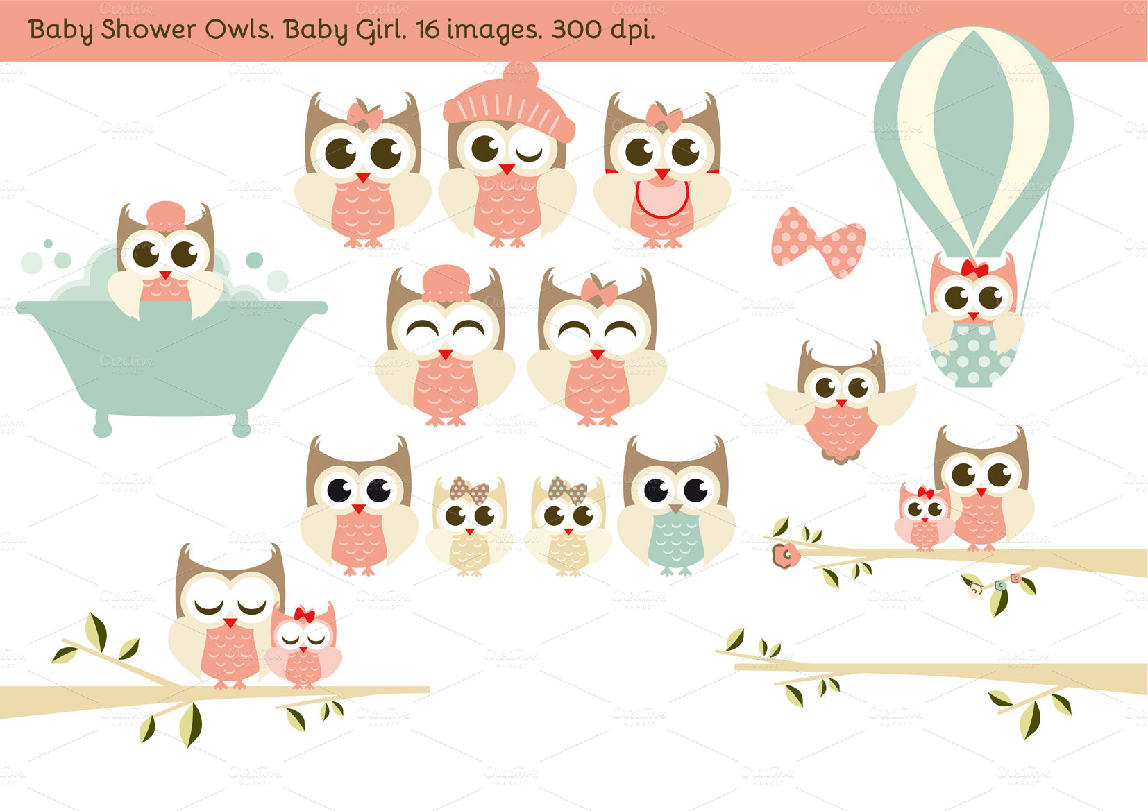 baby shower owls baby girl illustrations on creative