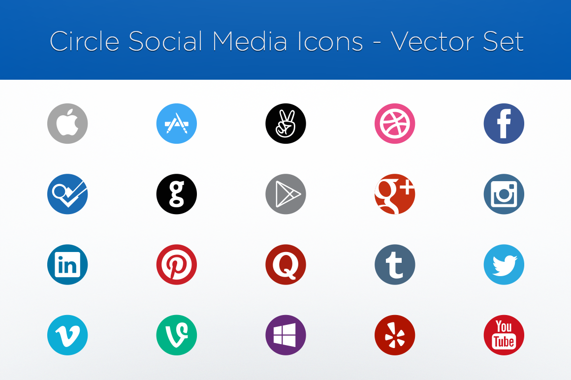 circle social media icons vector set icons on creative