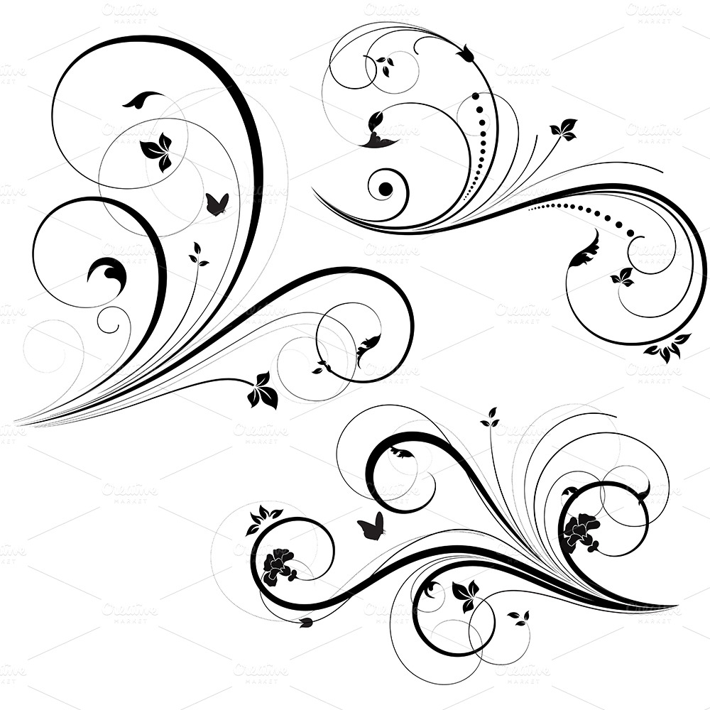 Swirl Floral Element Vector ~ Illustrations on Creative Market