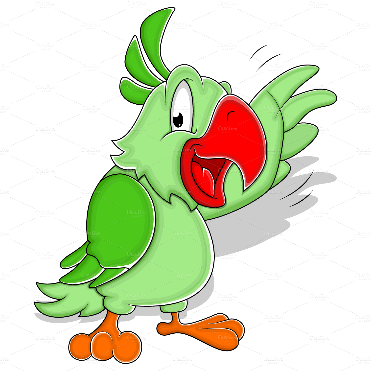 Cartoon Parrot Vector 2 Illustrations On Creative Market