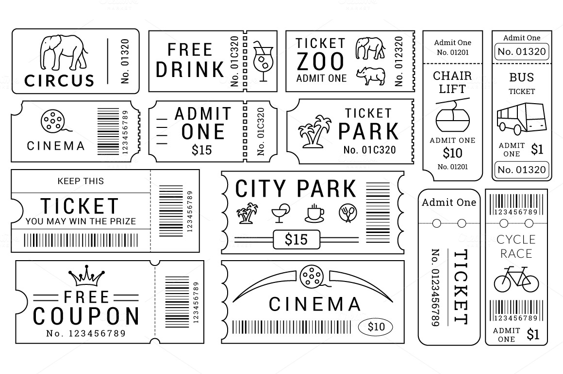 Ticket Templates Pack ~ Illustrations on Creative Market