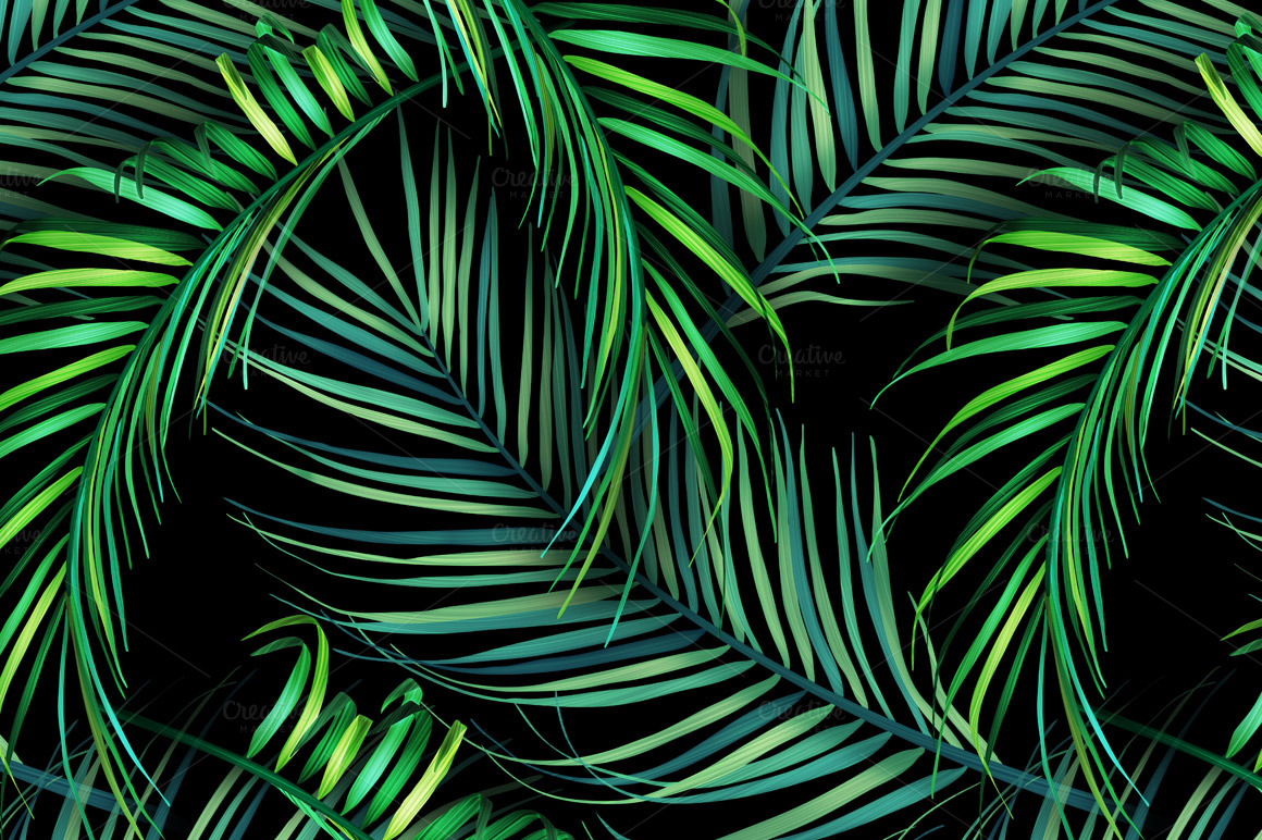 Aninimal Book: Jungle palm leaves. Tropical pattern ~ Patterns on ...