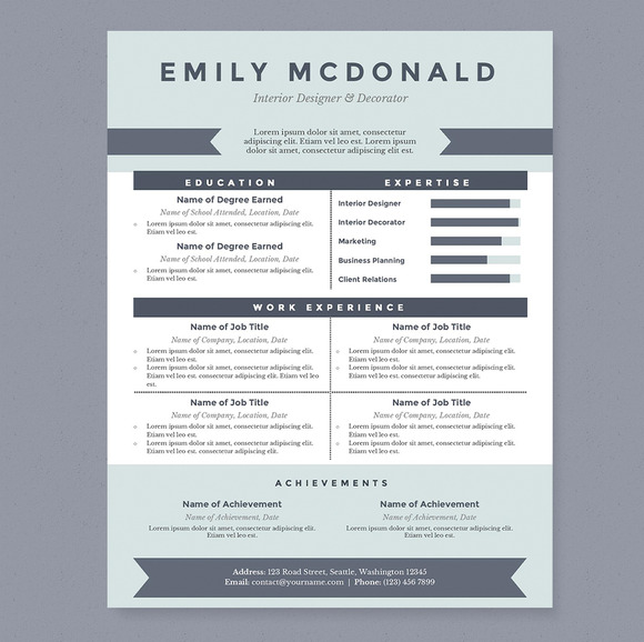 free creative resume templates word - sea blue resume template package resume templates on