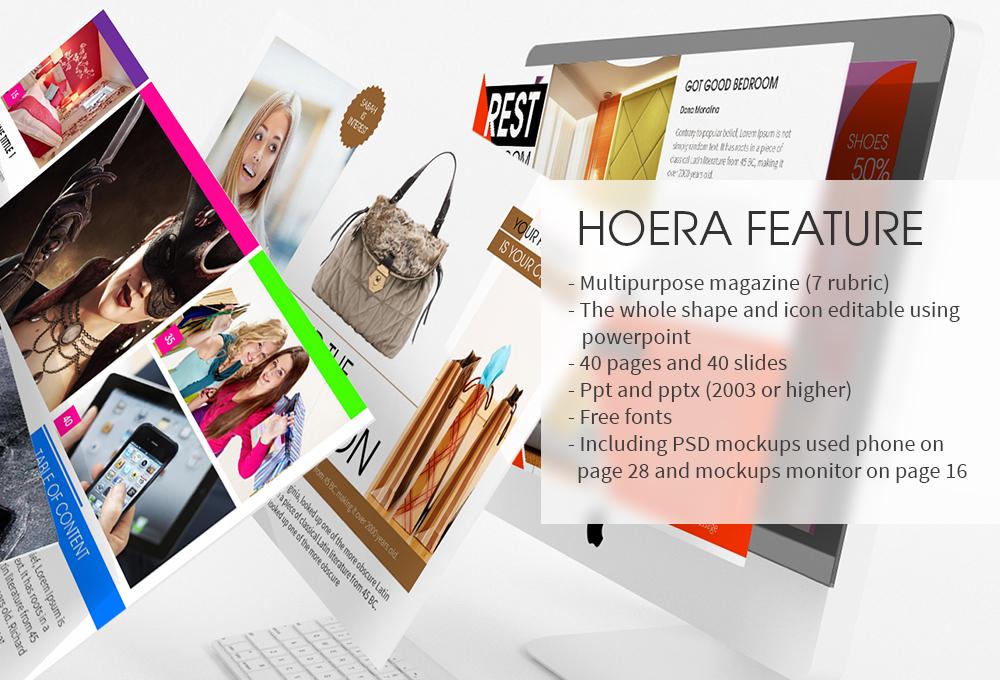 hoera magazine - powerpoint template « free file designer, Powerpoint templates