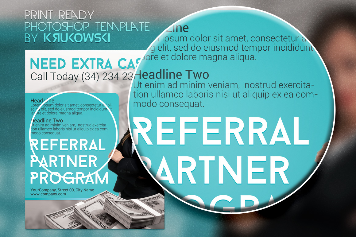 referral partner program flyer flyer templates on creative market. Black Bedroom Furniture Sets. Home Design Ideas
