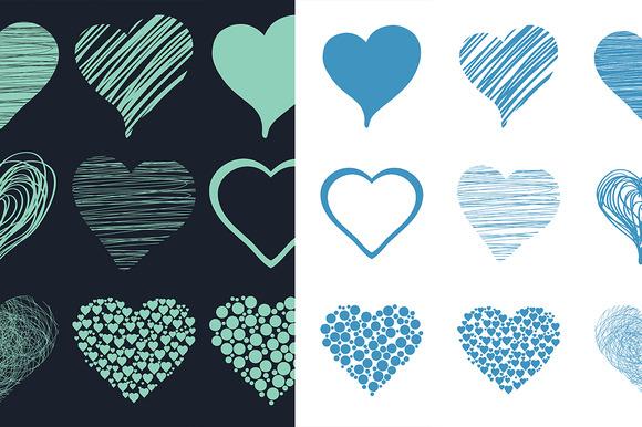 Set Of Hand Drawn Sketch Hearts