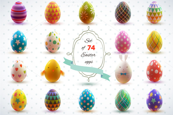 easter holiday pixels 400 150 wide tall creativemarket eggs