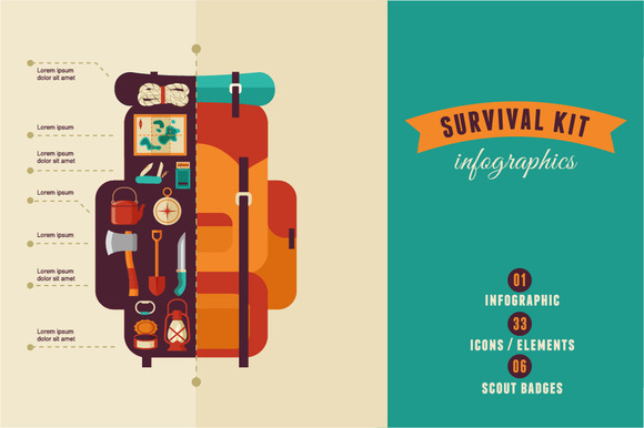 Survival Kit Camping Infographics