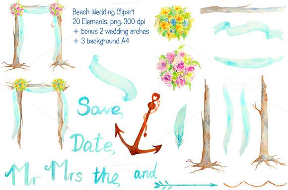 Watercolor Beach Wedding Arch