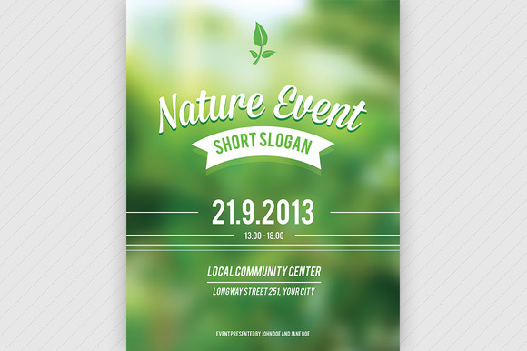 Nature event flyer psd flyer templates on creative market for Event brochure templates