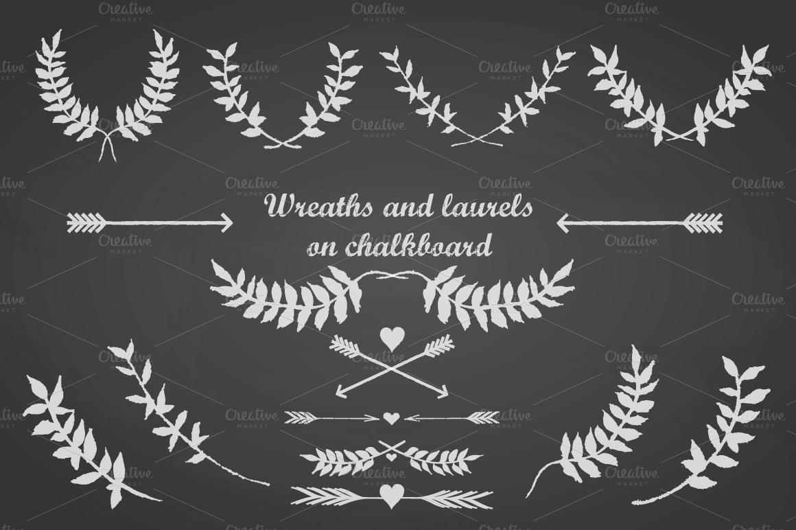 chalkboard laurels arrows hearts