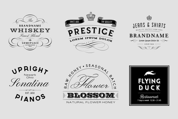 vintage logo and insignia set objects on creative market. Black Bedroom Furniture Sets. Home Design Ideas