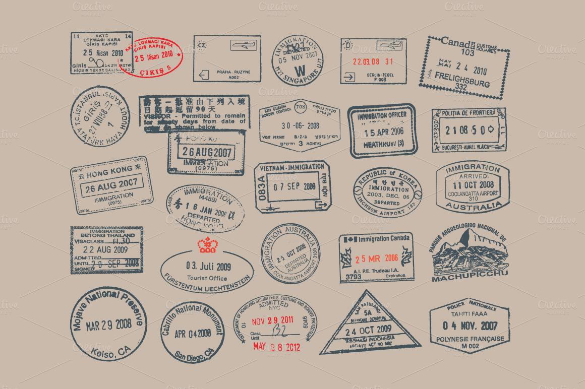 Passport Amp Postage Stamps And Badges Objects On Creative