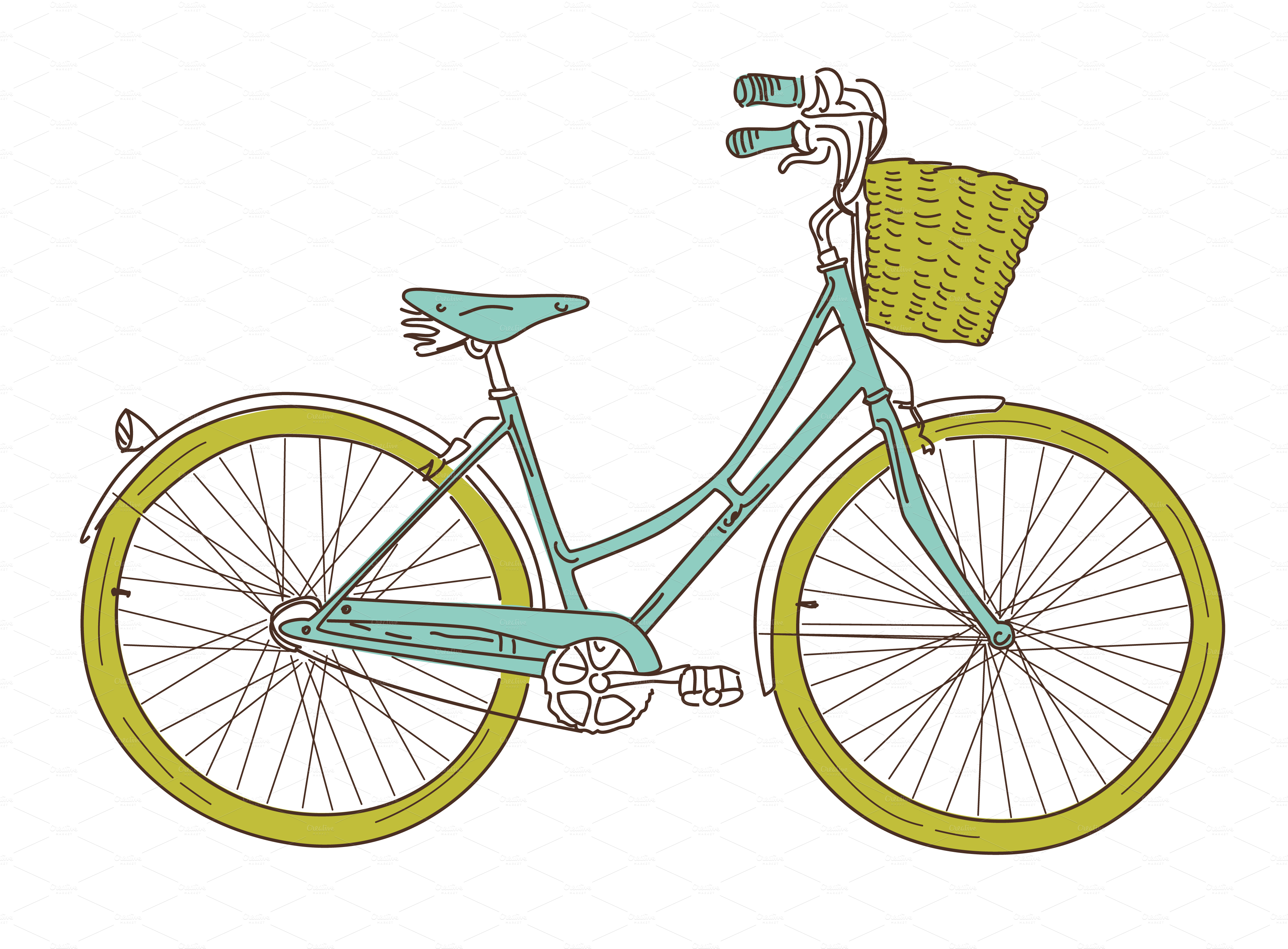14 Retro Bicycles Clip Art  Illustrations On Creative Market