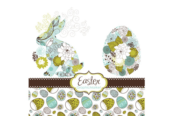 Easter Bunny, Digital Clip Art, Eggs