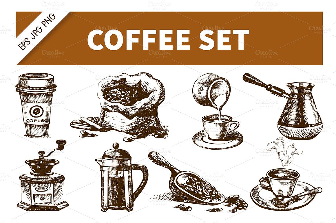 Coffee Hand Drawn Vintage Set Illustrations On Creative