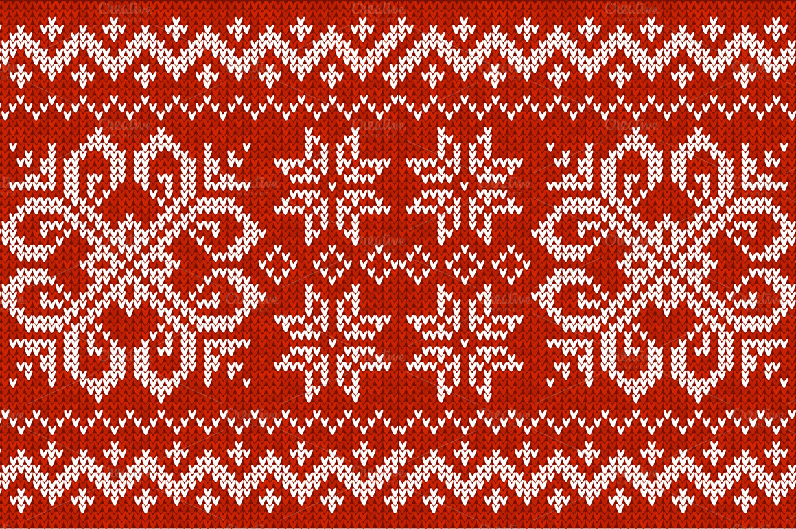 Christmas Knitting Background : Knitted vector seamless patterns on creative