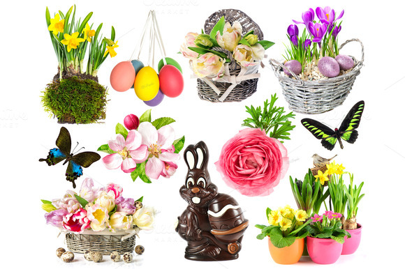 easter 400 pixels wide tall creativemarket objects collection flowers spring eggs