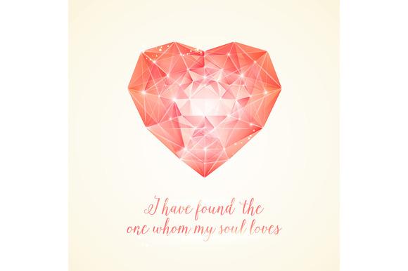 Valentines Day Red Diamond Heart