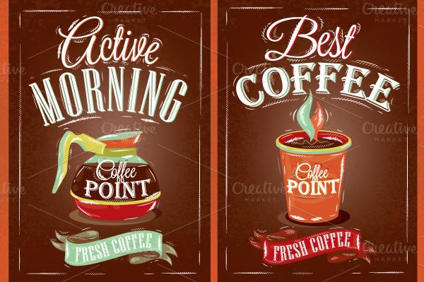 Retro Poster Coffee Point Illustrations On Creative Market